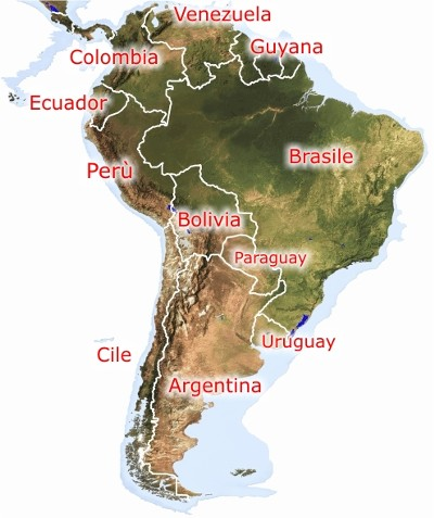 Cartina Fisica America Meridionale.Mappa America Latina